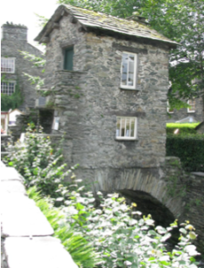 The bridge house in Ambleside across from the Armitt Museum