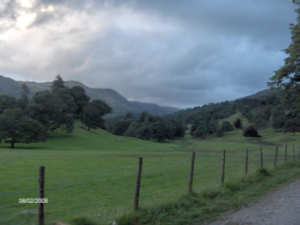 Figure 7.  The road from Ambleside to Rydal Hall—a nourishing half hour walk from bedroom to archive each day.